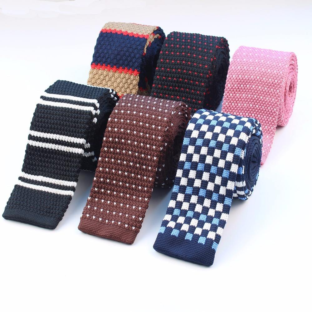 Mens Ties Accessories Narrom Slim Knit Tie Pattern Stripe Dotted Checked Knitted Neckties
