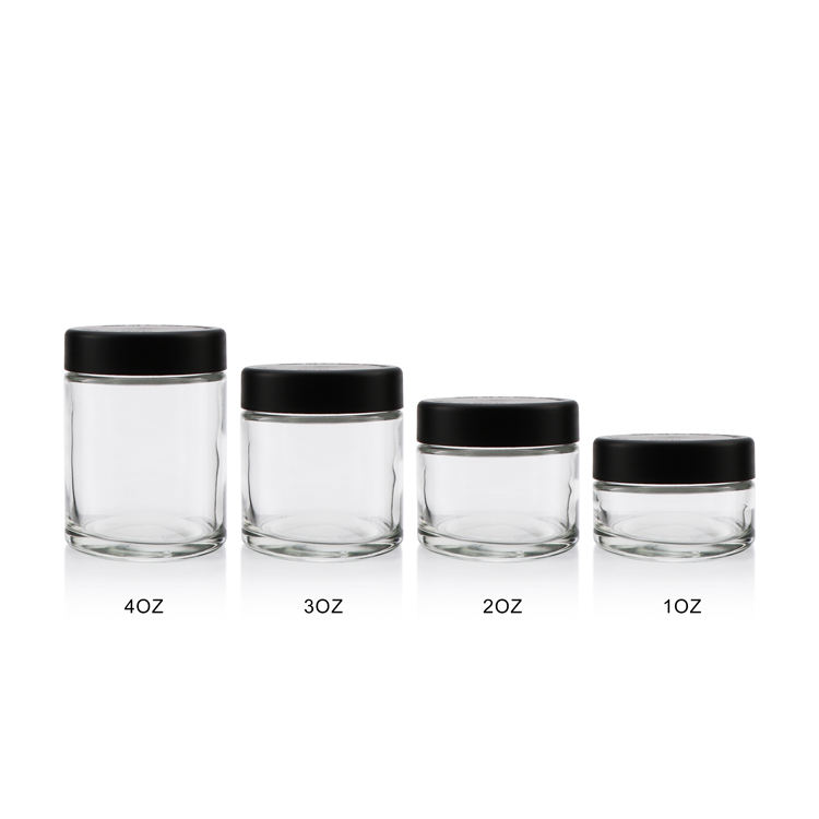 Fabricage 1 oz 2 oz 3 oz 4 oz clear candy ronde containers straight-sided spice <span class=keywords><strong>glazen</strong></span> potten met houten deksel opslag