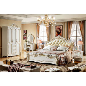 European classic antique design king size bed genuine leather solid wood master bedroom furniture bed frame