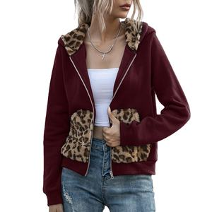 2020 new double-sided fleece leopard print stitching hooded plush top short trench coat women