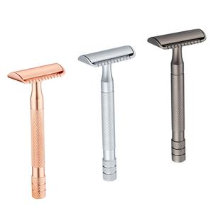 Mens Straight Blades Safety Razor Zinc Alloy Stainless Steel Double Edge Shaving Razor