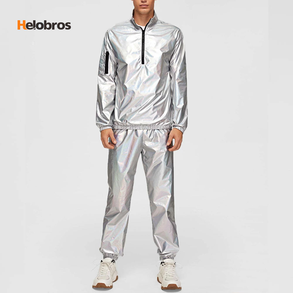 Hot Track Suit Sets Men Laser Metallic Texture Jacket and Pants Set Super Poly Fabric Sportswear Streetwear Tracksuit