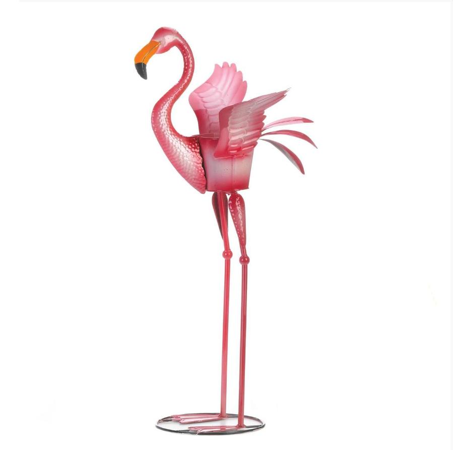 Forma animal jardín jardinera hierro rosa flamingo artesanía de metal de patio al aire libre plantadores
