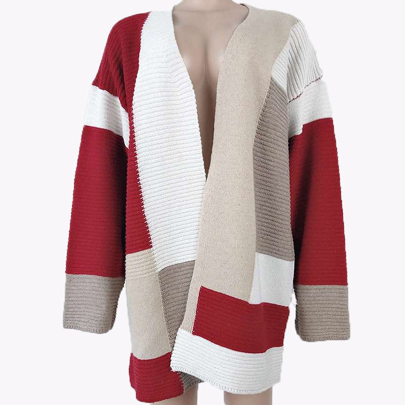 2021 Ladies Casual Designer Striped Knitted Loose Clothes Coats Long Womens Sweaters Cardigan for Women
