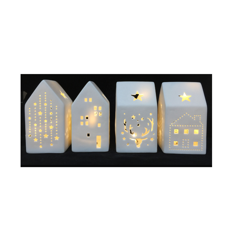 LedสีขาวเซรามิคChristmas <span class=keywords><strong>Village</strong></span> House