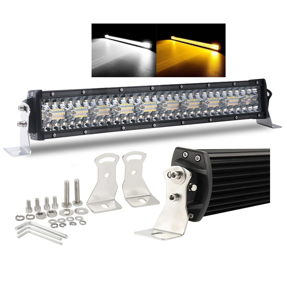 High Power Dual Warna Strobo Peringatan Lampu 42 Inch 32 Inch 12V 52 Inch LED Light Bar untuk Offroad mobil Truk 4x4