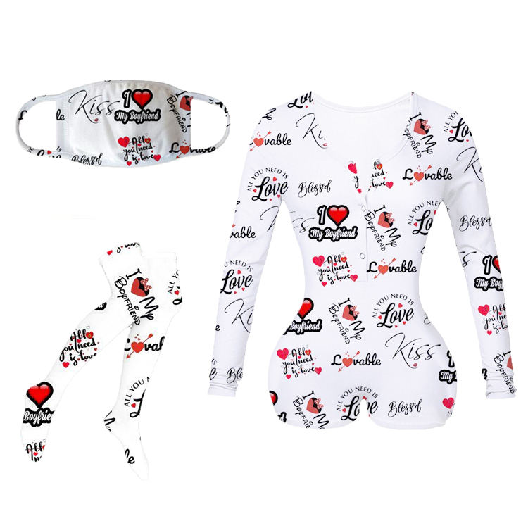 Sexy Custom adult valentine's day printed onesie for women nge wear,OEM Design Night Wear Sleepwear Pajamas Onesie For Sexy Wome
