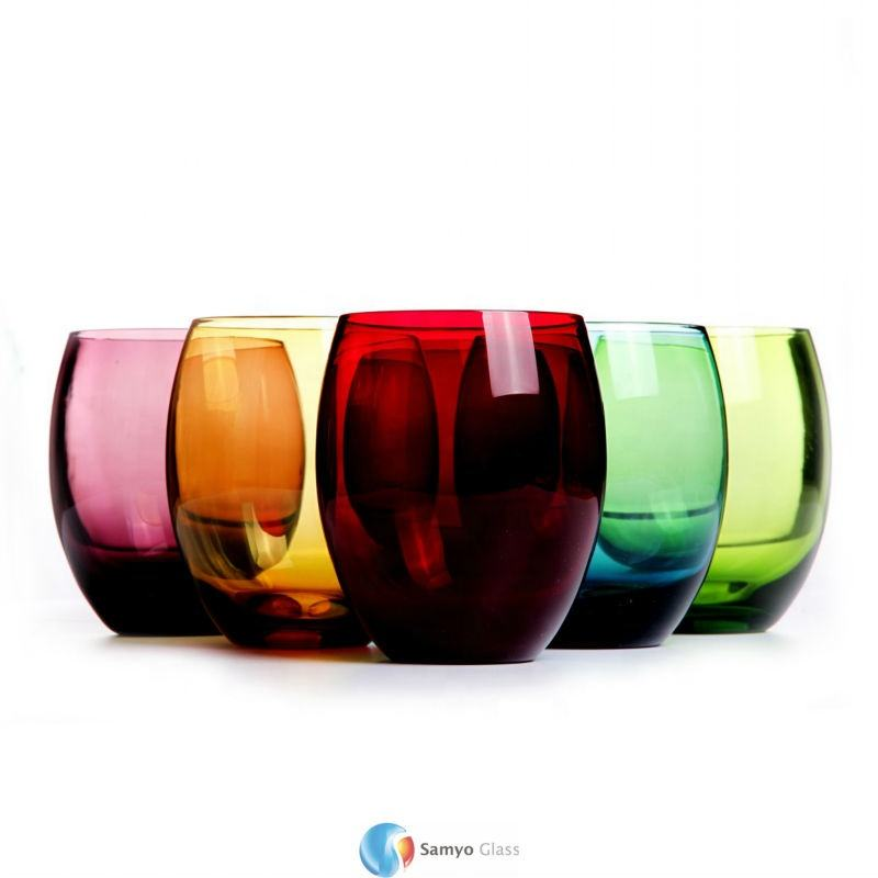 wholesale custom elegant egg shape colored decorate souvenir stemless wine glass shot tumbler glass