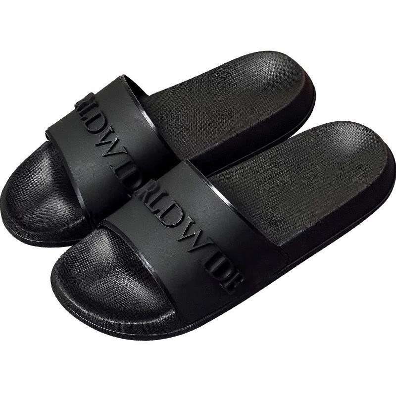 Designer Fashion PVC Customized 3D Logo Printing Slides Vendor Fashion Ladies Custom Logo Beach Black Slipper for Men