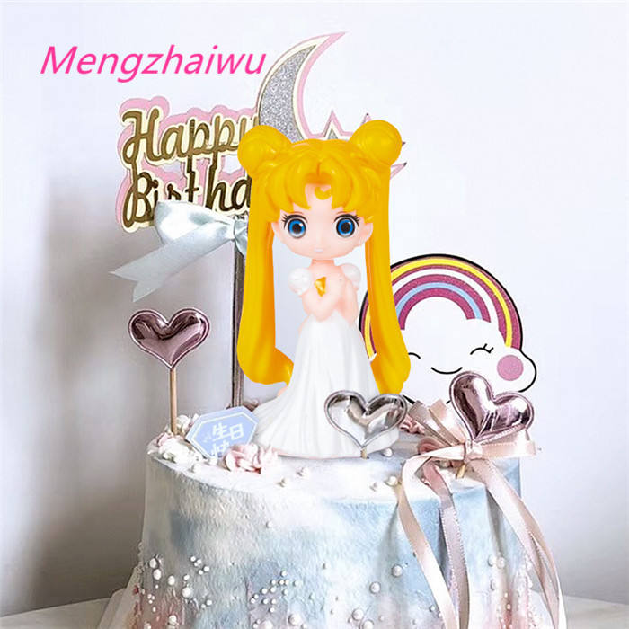 Japan Trend Feestartikelen 2020 Decoraties Cartoon Leuke Sailor Moon Dessert Accessoires Dessert Decoratie <span class=keywords><strong>Set</strong></span>