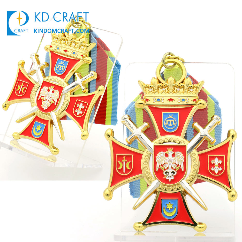 Manufacturer custom metal 3D enamel fantasy sword eagle award sports army sheriff star military medal with short ribbon