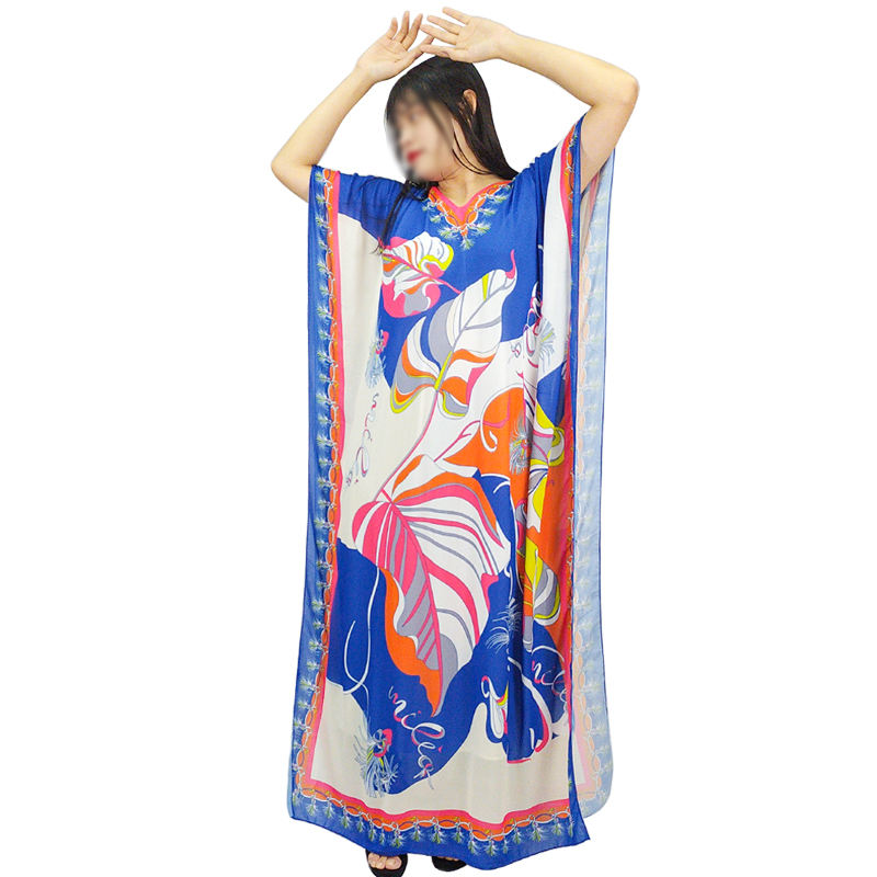 Plus size clothing maxi print summer chiffon dubai long dresses women casual