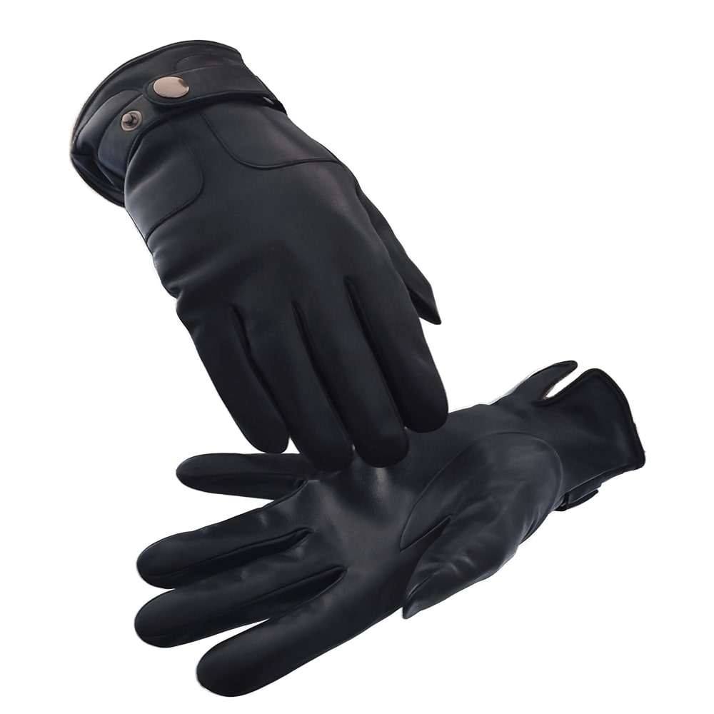 custom high quality men winter knitted lining genuine sheepskin leather gloves