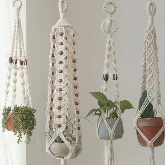 Wall Plants Hanging Holder Cotton Rope, Macrame Plant Hanging For Garden Home Decoration