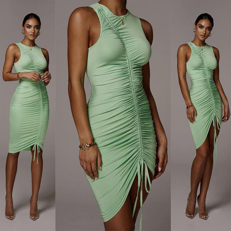 2020 Wholesale new arrival fashion women evening bodycon sleeveless adjustable drawstring career mini dresses