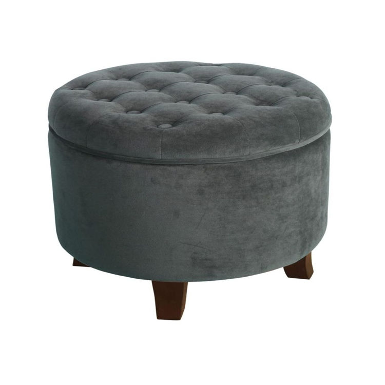 Velvet Button Tufted Round Storage OttomanとRemovable Lid Dark Grayオットマン