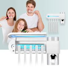 3in1 Antibacterial UV Toothbrush Holder Automatic Toothpaste Dispenser Sterilize Home Cleaner Sterilize Bathroom Accessories Set