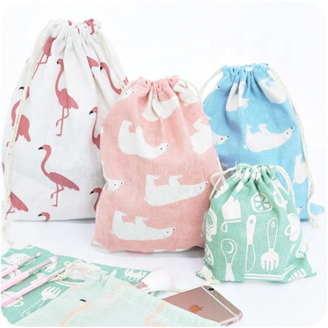 Promotional Fashion Design Small Cotton jute Bags With Drawstrings