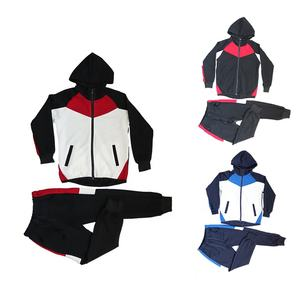 low MOQ factory price hot sale custom size logo zipper hoodie jacket set polyester sport kids brand tracksuit sets for boy