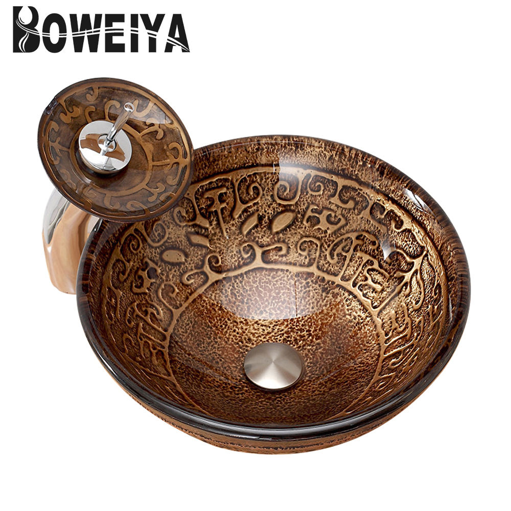 Copper Color Hand Painted Round Cabinet Basin Tempered Glass Toilet Wash Hand Basins For Turkey