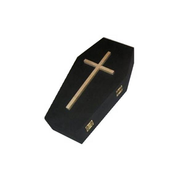 OEM Wooden Coffin Boxes Black Oil Painting with Custom Liners Halloween Coffin Box
