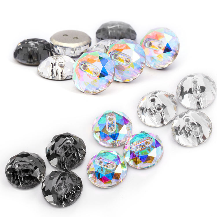 Low MOQ K9 Glass Two Colors Crystal Glass AB Crystal Button Sewing Crystal Stones Button for Clothing