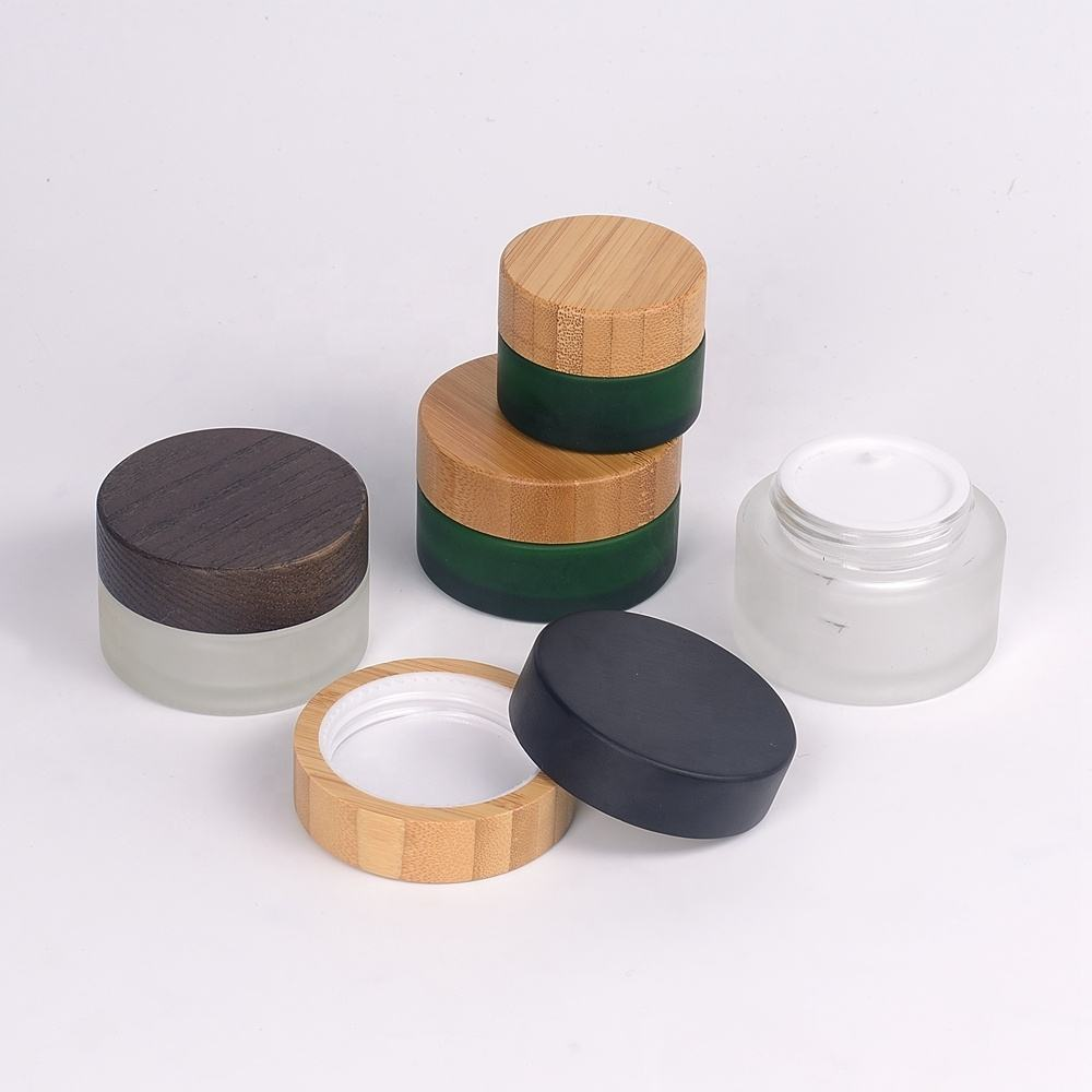 bamboo packaging empty cosmetic cream glass container 15g 30g 50g 100g wood lid glass jar bamboo lid cosmetic jar