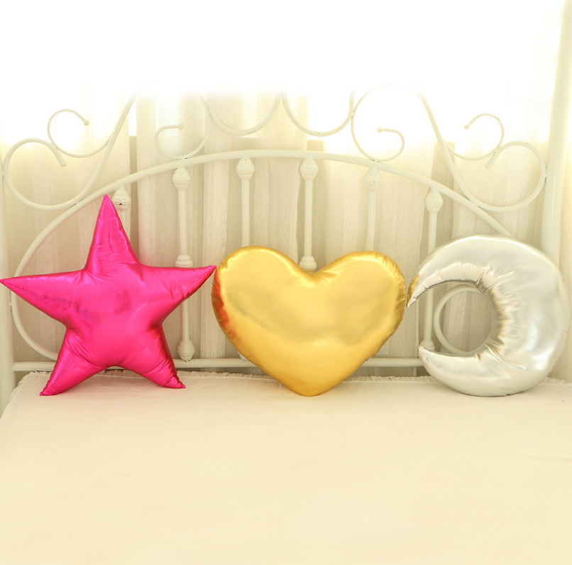 nordic style INS toys PU leather pillow cushion moon start heart baby room decoration