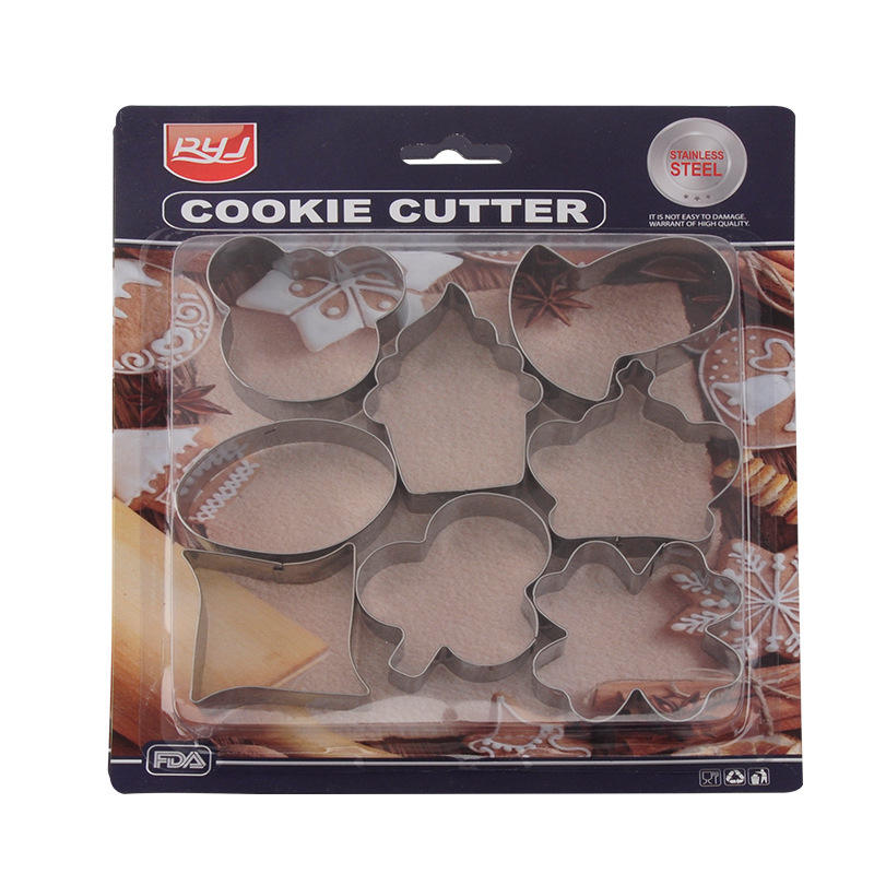 6pcs sets hot sale custom baking diy mold christmas stainless steel cookie cutter 3D stainless steel cutter mould