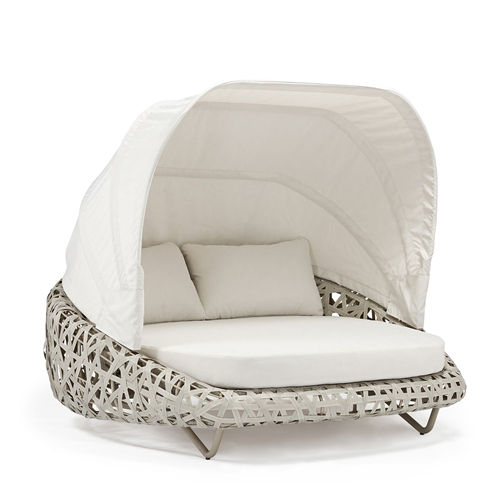 Couture Jardin 컬 정원 Sunbed Lounger 라운드 야외 등나무 가구 야외 Chaise Daybed