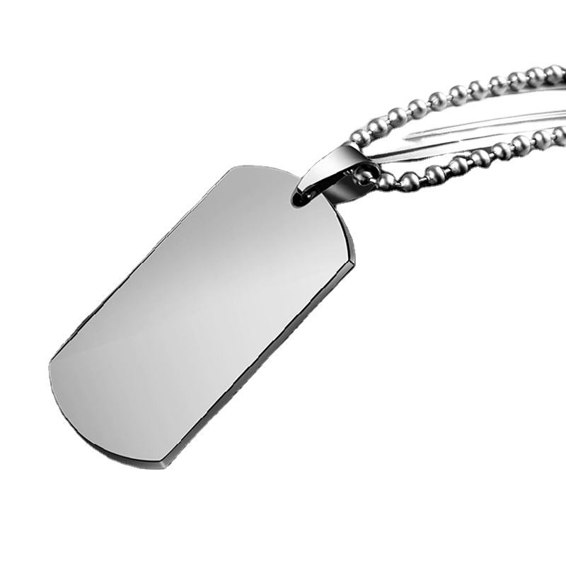 Custom Logo Laser Engraved Stainless Steel Jewelry Metal Pendant Men Military Dog Tags Necklace