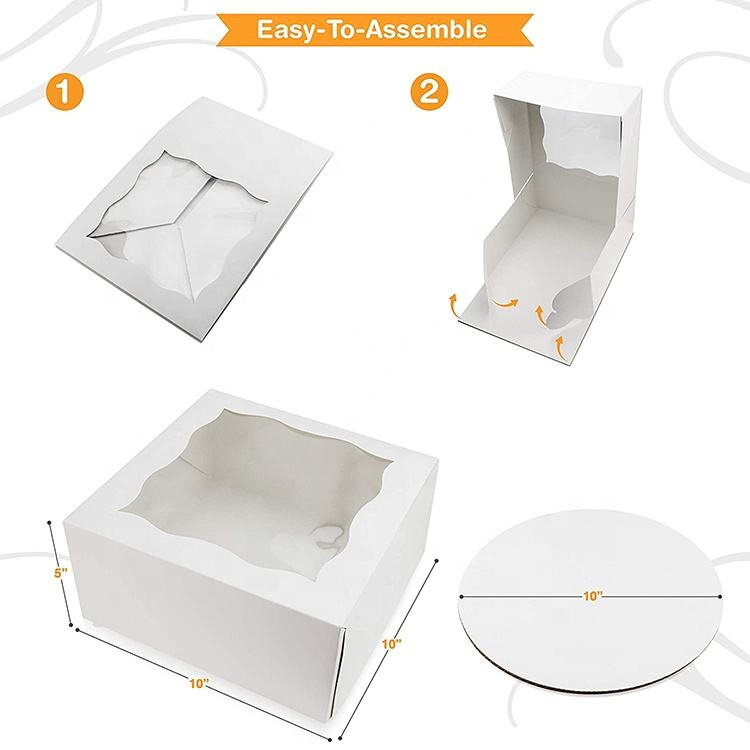 Custom logo Portable white packing boxes 10 x 10 x 5 Inch biodegradable Cardboard square Wedding Cake Boxes with Window for sale