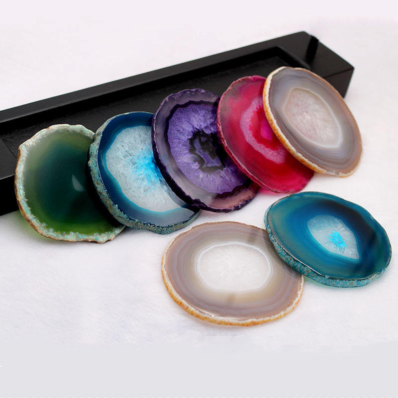 Hot Sale Multi Color Agate Coaster Slice Natural Polished Round Agate Slices Crystal Stone Agate Coaster For Coffee House