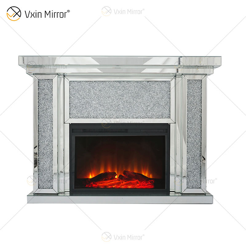 crushed diamond crystal mirrored WXWF-1108 fireplace mantel with electric fire inserts