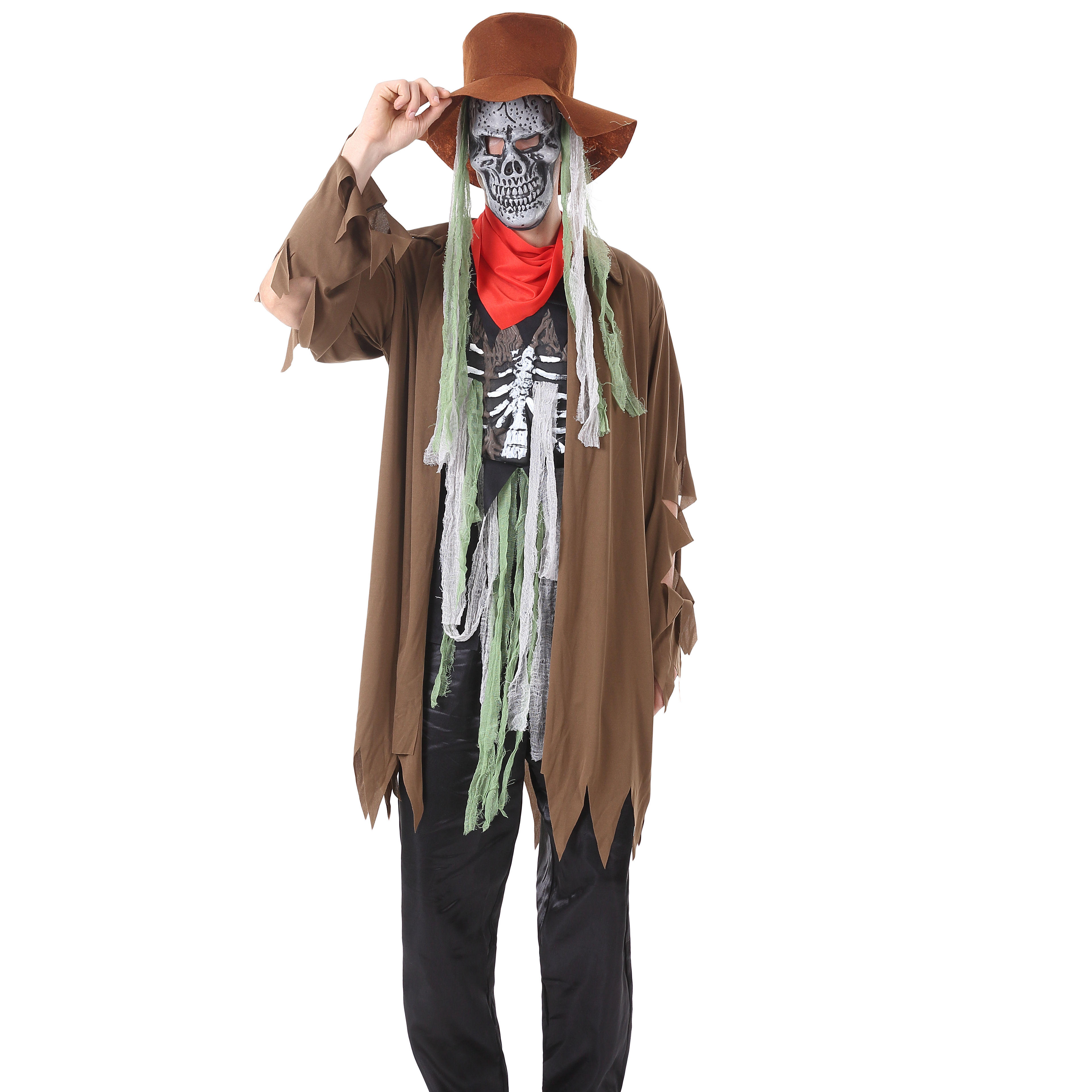 Halloween Adult Costume of Cool Cowboy Ghost Zombie Costume Bone Cloth