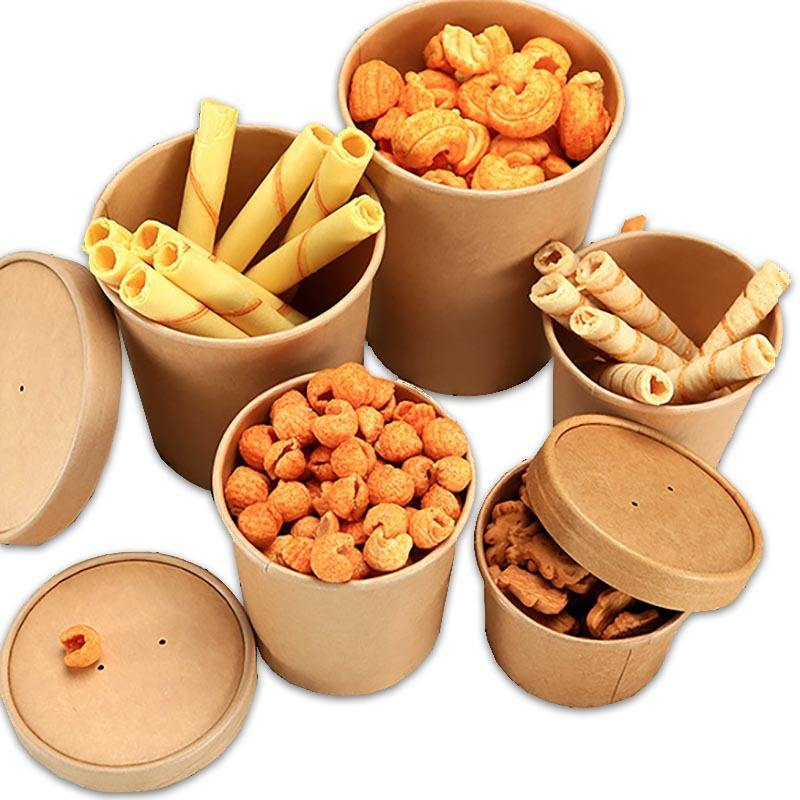 Eco Friendly disposable Kraft Paper Box Food packing box Kraft soup bucket with lid