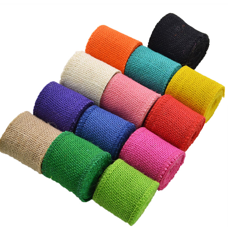 Jute Burlap Ribbon Roll DIY Craft Gift Wrapping Rustic Ribbon Wreaths Flower Making Table Decor Vintage Wedding Decorations