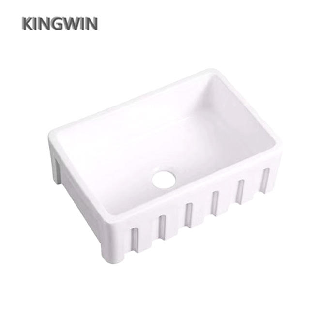 Fire Clay Fluted Farmhouse Apron Front Rectangular Ceramic kitchen Sink with Single Bowl JYF3030-C