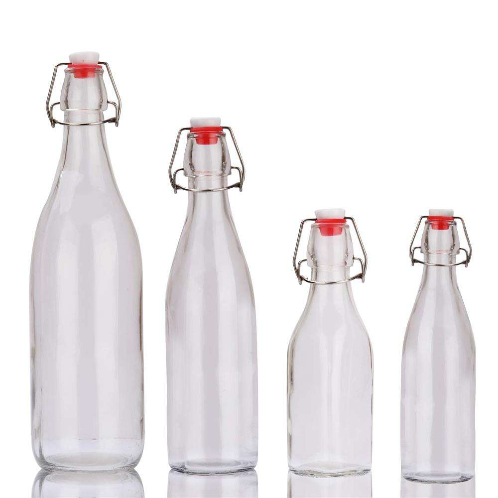 cheap stocked flip top cooking oil round glass bottle swing top 60ml 100ml 250ml 500ml 750ml 1000ml