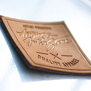 High Quality Luxury Fashion Hot Stamping Custom Deboss Logo Real Brown Leather Label Patch for Jeans