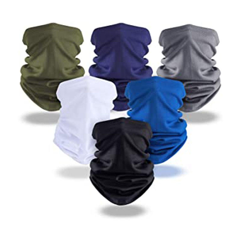 Micro fiber bamboo tube navy blue bandana reflective stripe one piece scarf mask bandana with earholes