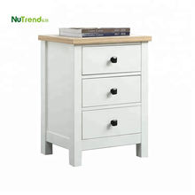 3 drawer white solid wooden bedside table small modern bed side tables for bedroom