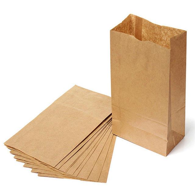 Paper carrier bags Marrón SOS Kraft Comida Para Llevar Fiesta Comida Almuerzo plana manejar
