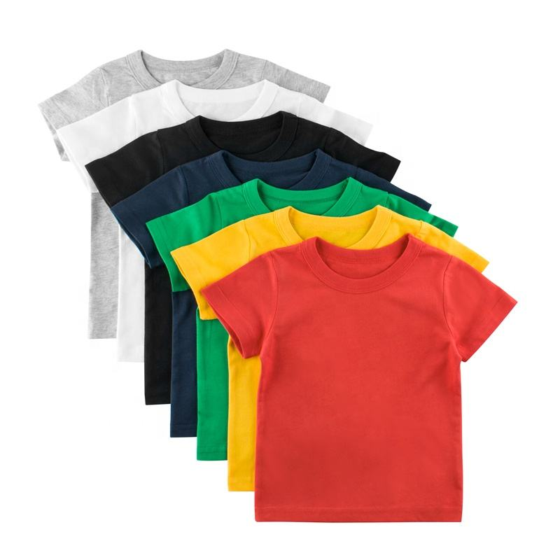 ChengXi kids tshirt active boy short-sleeved pure color shirt red amd white boys shirts