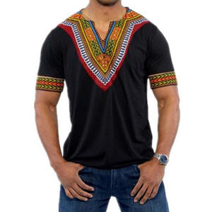 Ecoparty 6 Color Fashion Summer Men Top African Clothing African Dashiki Print Rich Casual Short Sleeve T Shirt For Mens