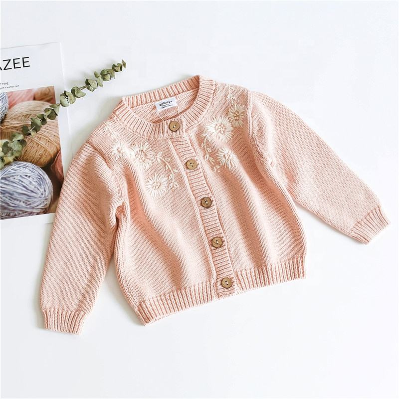 toddler baby sweater girls cardigan embroidery flower yellow pink fall kids clothes wholesale children's clothing boutiques 546
