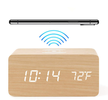 Newest Hot Selling Wooden QI Wireless Charger charging LED Calendar Time Temperature Voice Control wood Digital Alarm Clock