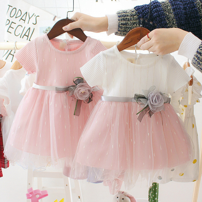 Korean sweet style girl dresses fashion casual fancy lace flower baby kids dress