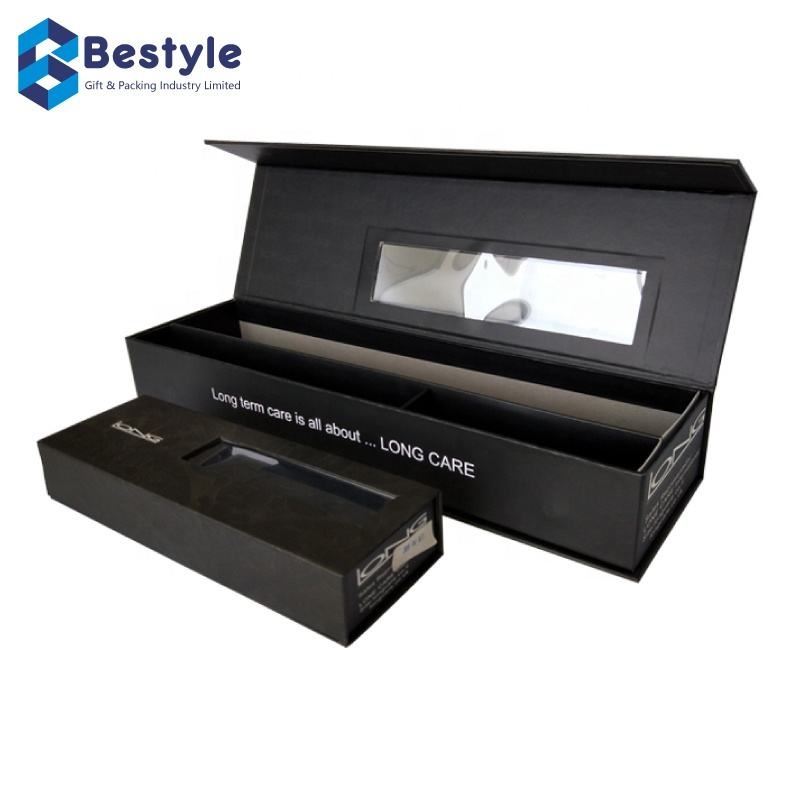 Bestyle Wholesale Custom Printed Black Paper Packaging Magnetic Box With PVC Plastic Window