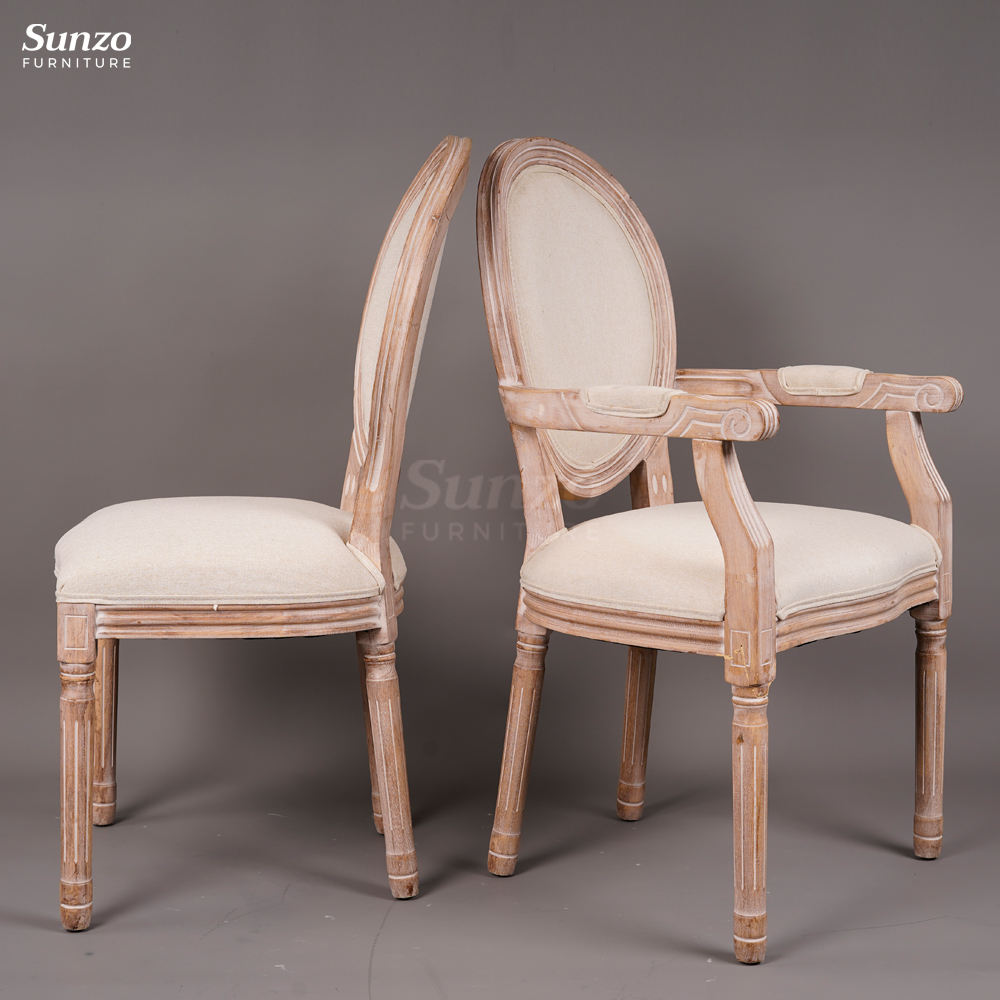 Solid Wooden French Dining Louis Armchair